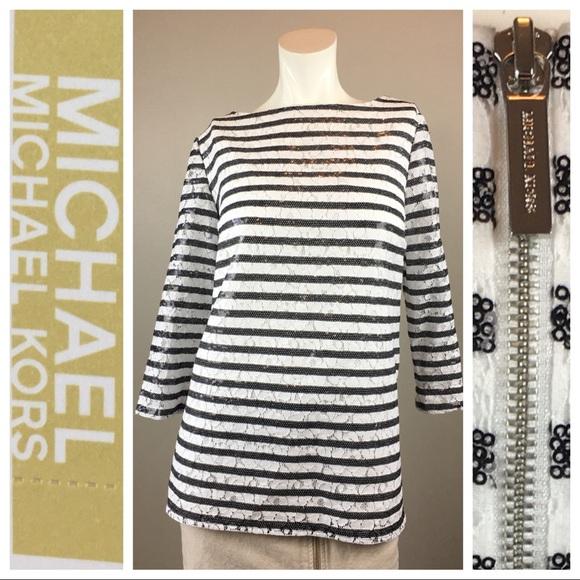 8ea5b142b83 MICHAEL Michael Kors Tops | New Michael Kors Stripe Sequin Lace Top ...